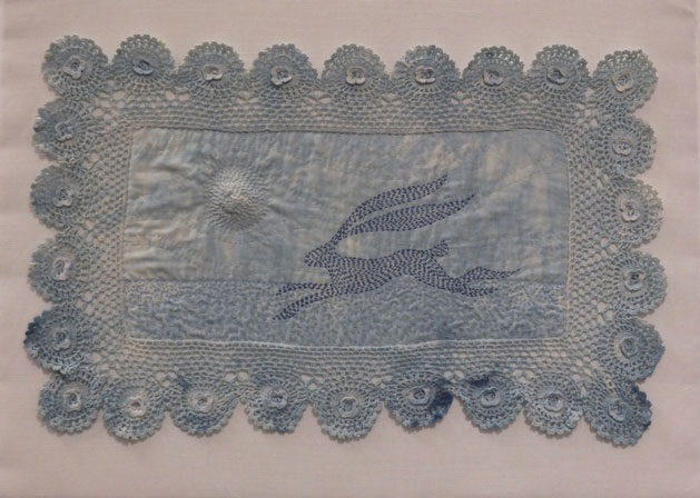 Kantha hare stitched onto woad dyed vintage tray cloth